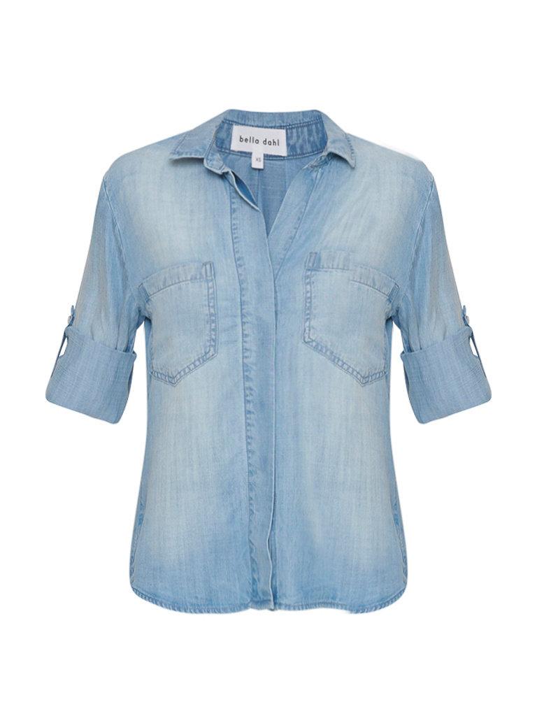 Bella Dahl blouse met split lichtblauw
