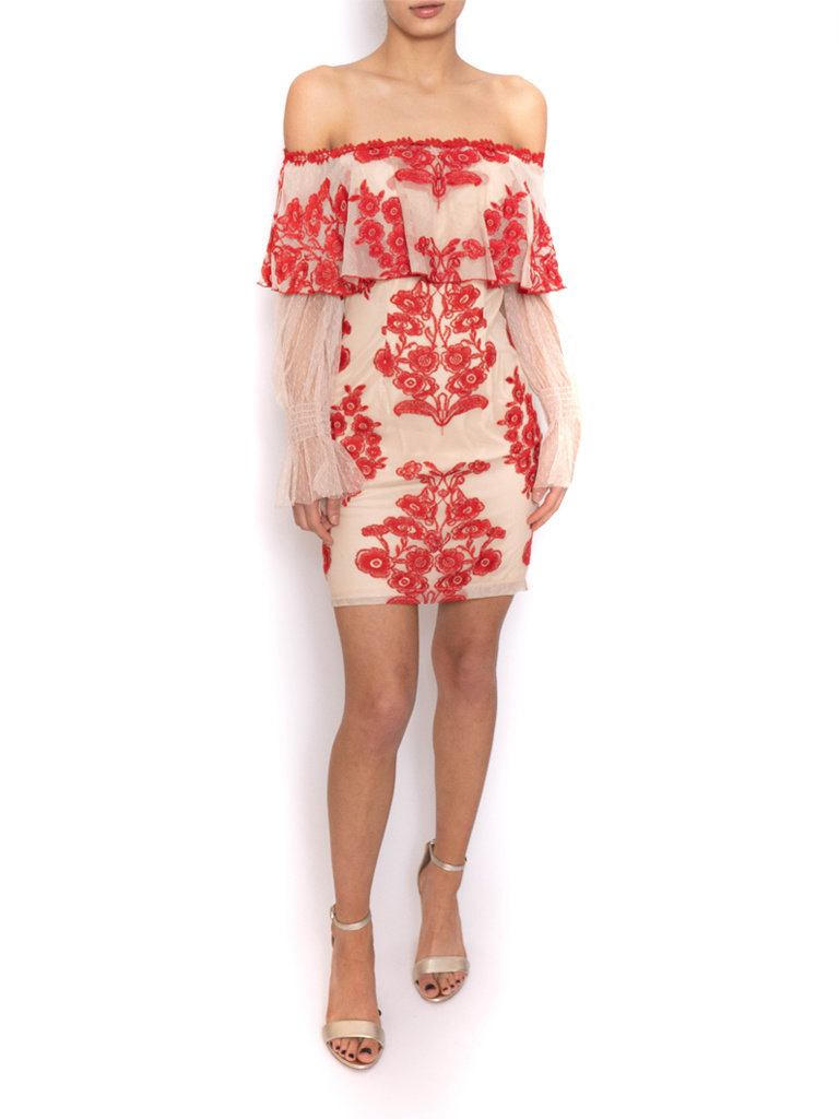 Forever Unique Forever Unique dress off-shoulder with lace and floral print nude red