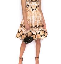 Forever Einzigartiges Kleid mit Barockdruck, Schwarzgold