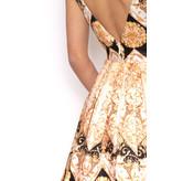 Forever Unique Forever Unique  jurk met  baroque print zwart goud