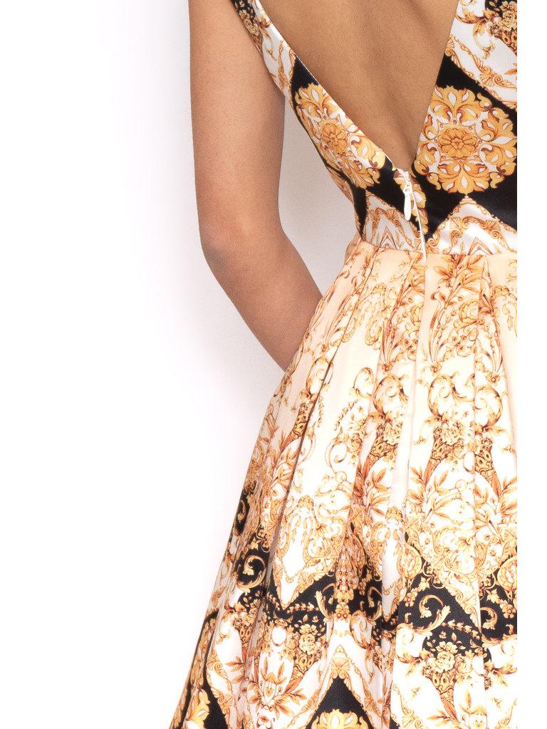 Forever Unique Forever Einzigartiges Kleid mit Barockdruck, Schwarzgold