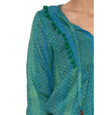 Cecilie Copenhagen Cecilie Copenhagen Beatrice shirt pompom details groen blauw