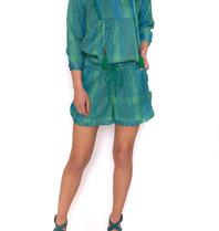 Cecilie Copenhagen Holly shorts met lurex details groen blauw