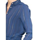 Cecilie Copenhagen Cecilie Copenhagen Amalie  blouse met buttons down blauw