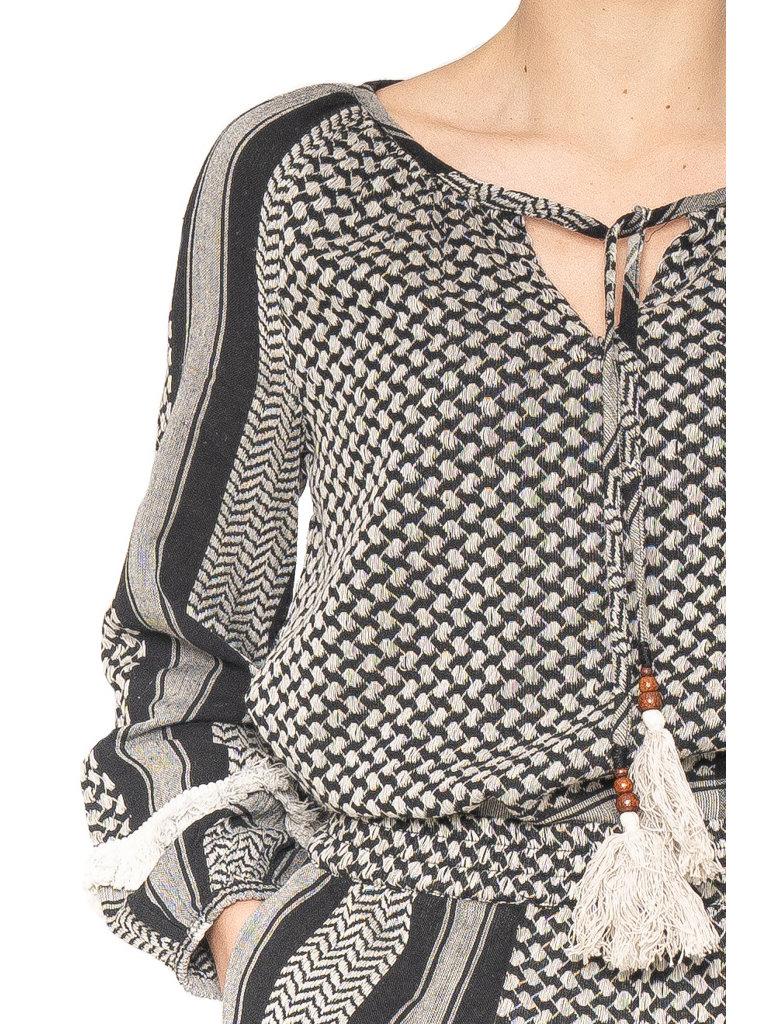Cecilie Copenhagen Cecilie Copenhagen Ingrid blouse met franjes zwart wit