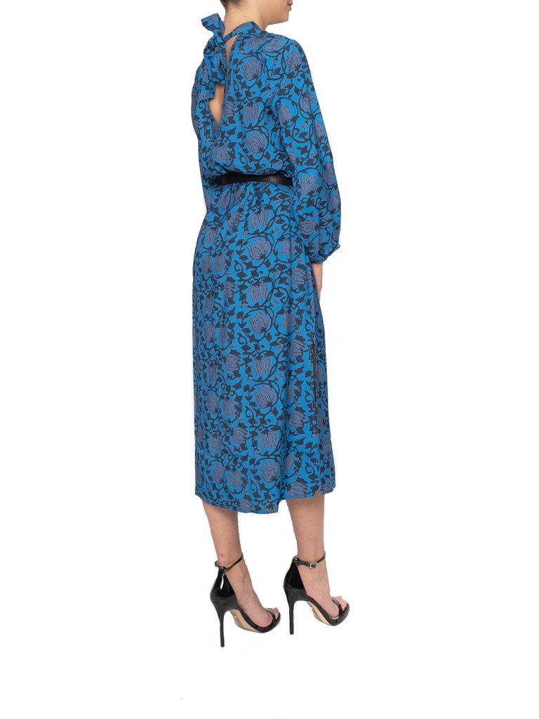 Cecilie Copenhagen Cecilie Copenhagen Santena jurk met print blauw zwart