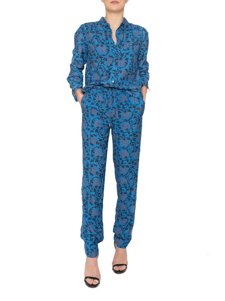 Cecilie Copenhagen Cecilie Copenhagen hero broek met print blauw zwart