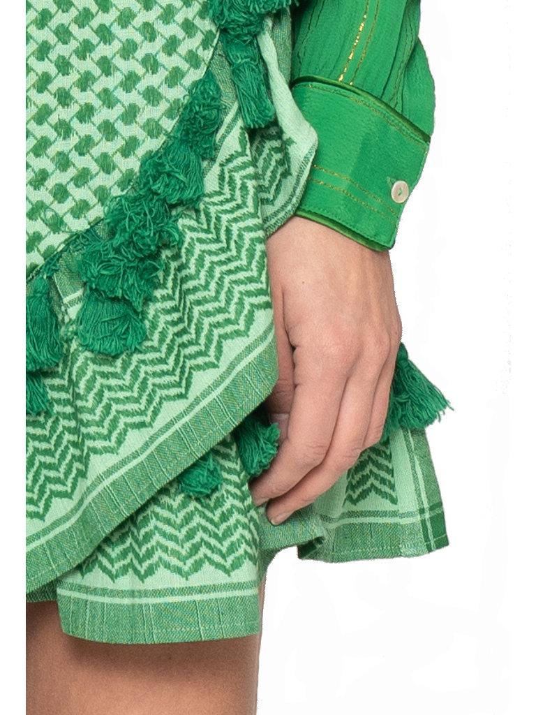 Cecilie Copenhagen Cecilie Copenhagen Sonja rok met kwastjes  groen