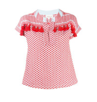 Cecilie Copenhagen Cecilie Copenhagen Helene top with tassels red white