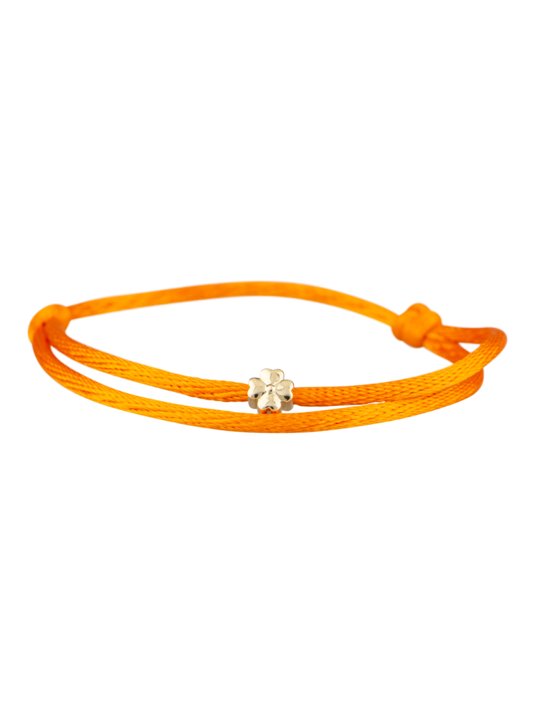 Goldbandits GoldBandits cord bracelet clover yellow gold