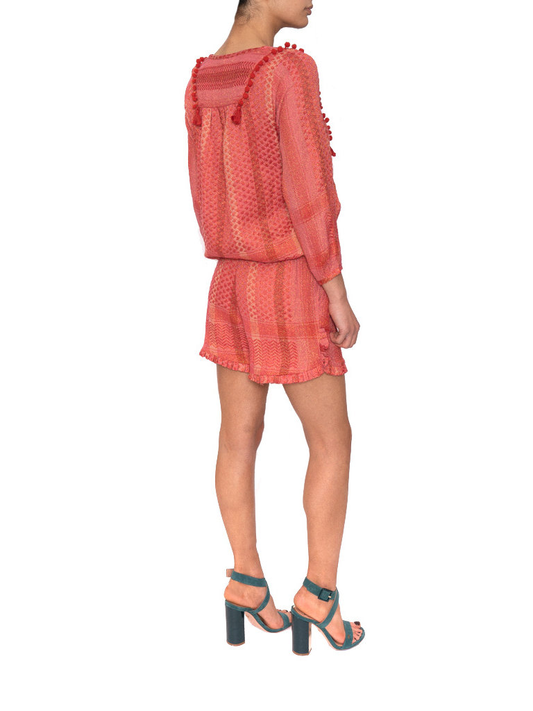 Cecilie Copenhagen Cecilie Copenhagen Holly shorts met lurex details roze rood