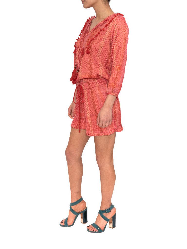 Cecilie Copenhagen Cecilie Copenhagen Beatrice shirt pompom details roze rood