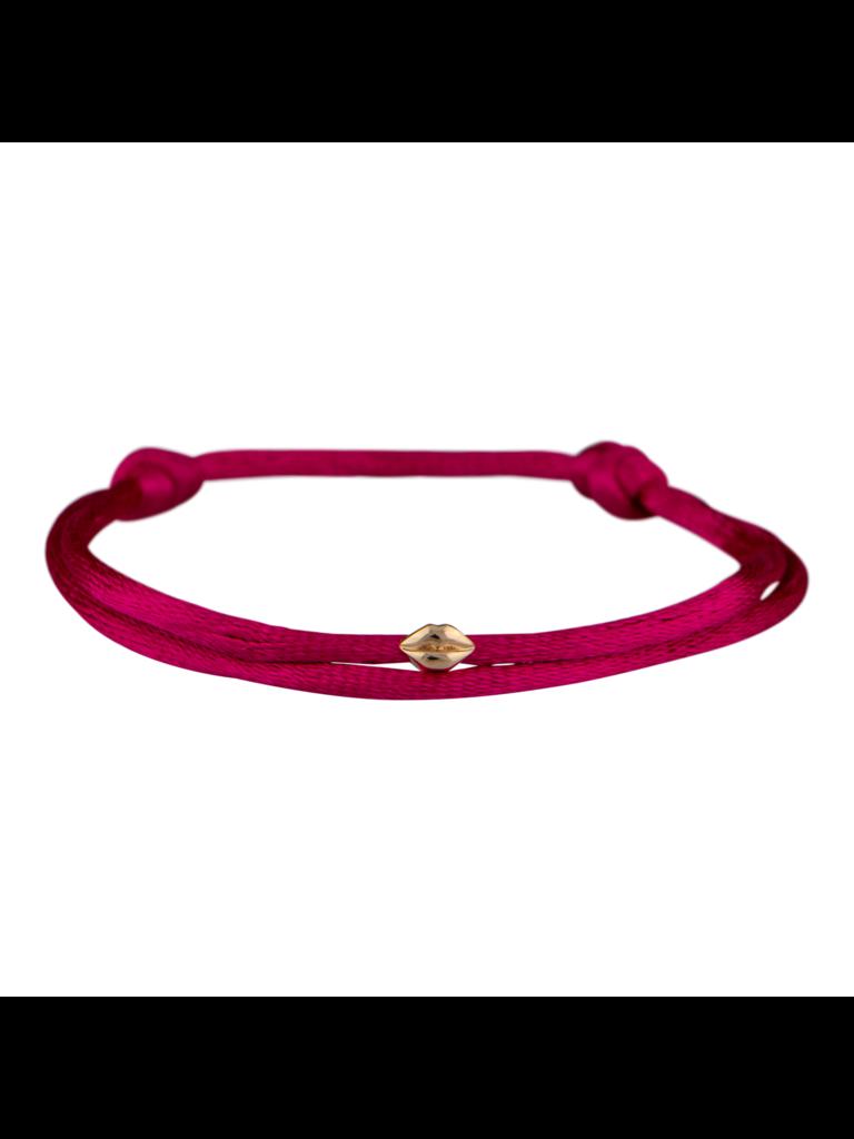 Goldbandits GoldBandits Mini lips rose gold cord bracelet