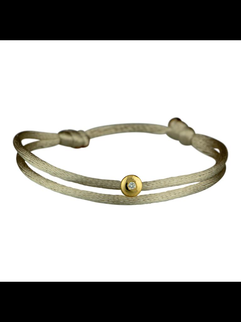 Goldbandits GoldBandits cord bracelet with diamond yellow gold