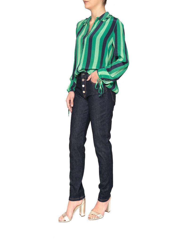 Cecilie Copenhagen Cecilie Copenhagen Emilie blouse met buttons down groen