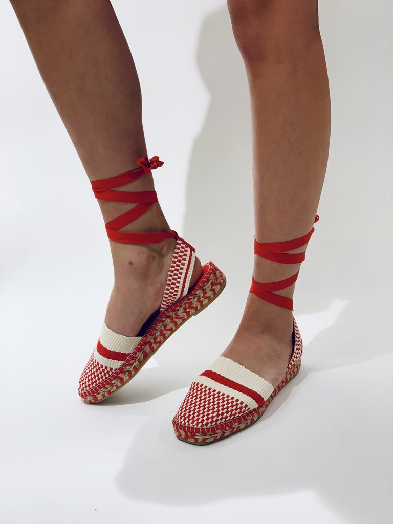 So Jamie Oase espadrilles met laces rood wit