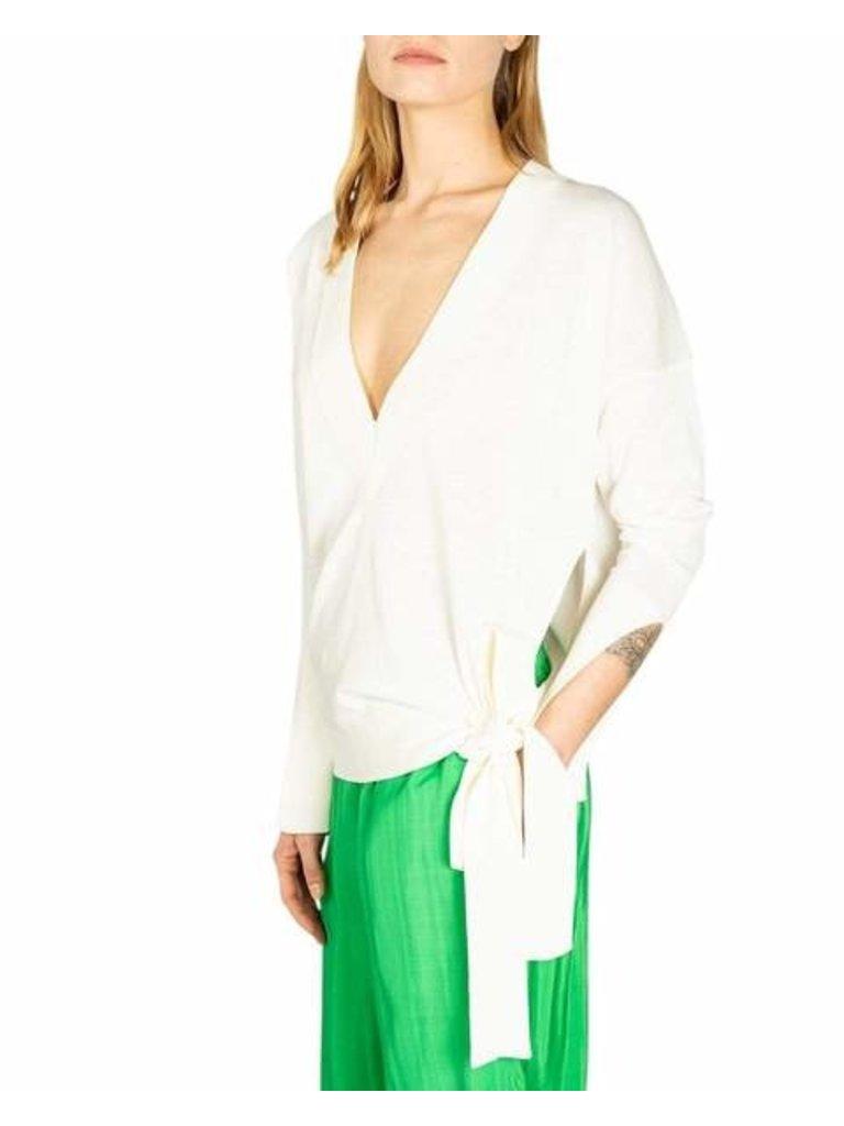 Erika Cavallini Erika Cavallini Pullover mit V-Ausschnitt und Knopfdetail in Weiß