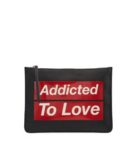 PINKO Pinko Oramai clutch with text black red