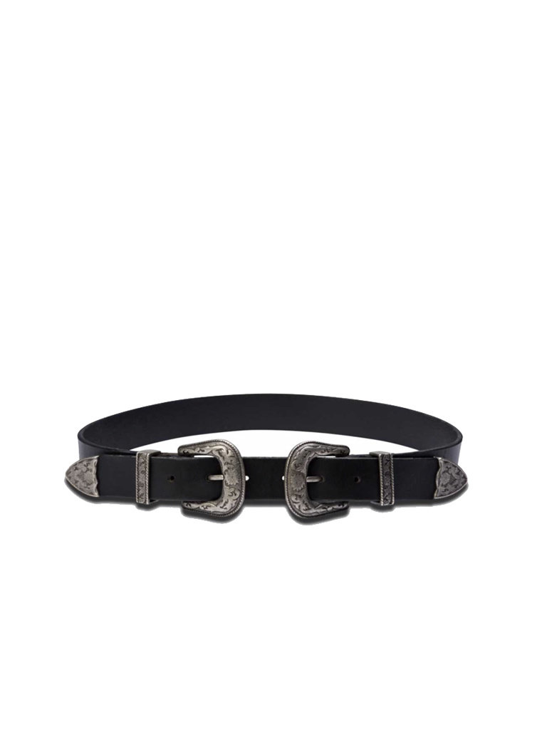 So Jamie So Jamie Buckle me up - Dos belt with double buckle black silver