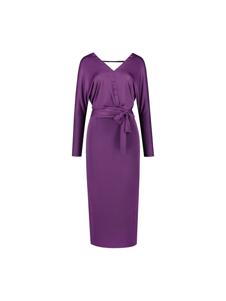 Acide Acide Alexis midi dress with a purple belt