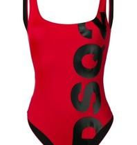 Dsquared2 Badeanzug mit Logo rot schwarz