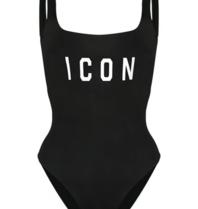 Dsquared2 Dsquared2 'Icon' Badeanzug schwarz mit weiß