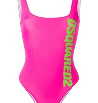 Dsquared2 Badeanzug mit Logo neon pink
