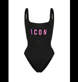 Dsquared2 'Icon' badpak zwart met roze