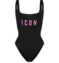 Dsquared2 'Icon' Badeanzug schwarz mit pink