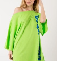Dsquared2 short kaftan with text lime