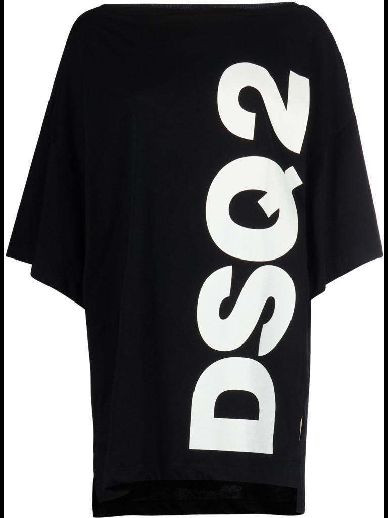 Dsquared2 short kaftan met tekst zwart