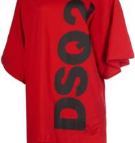 Dsquared2 short kaftan met tekst rood