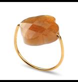 Morganne Bello Morganne Bello ring klaver Sunstone steen beige goud