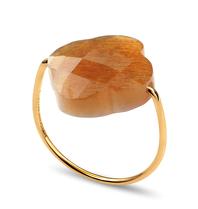 Morganne Bello Morganne Bello Ring Klee Sonnenstein Stein Beige Gold