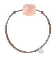 Morganne Bello Morganne Bello cord bracelet with Moonstone peach cushion stone light pink