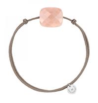 Morganne Bello Morganne Bello koord armband met Moonstone peach cushion steen lichtroze