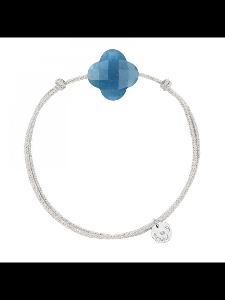 Morganne Bello Morganne Bello koord armband met blauwe kwarts klaver steen