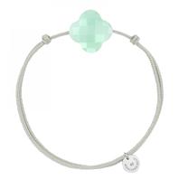 Morganne Bello cord bracelet with Chrysoprase mint clover stone