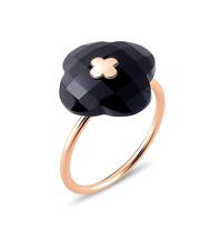 Morganne Bello Morganne Bello Ring rose gold Onyx stone