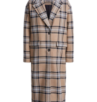 SET Fashion oversized checkered coat camel