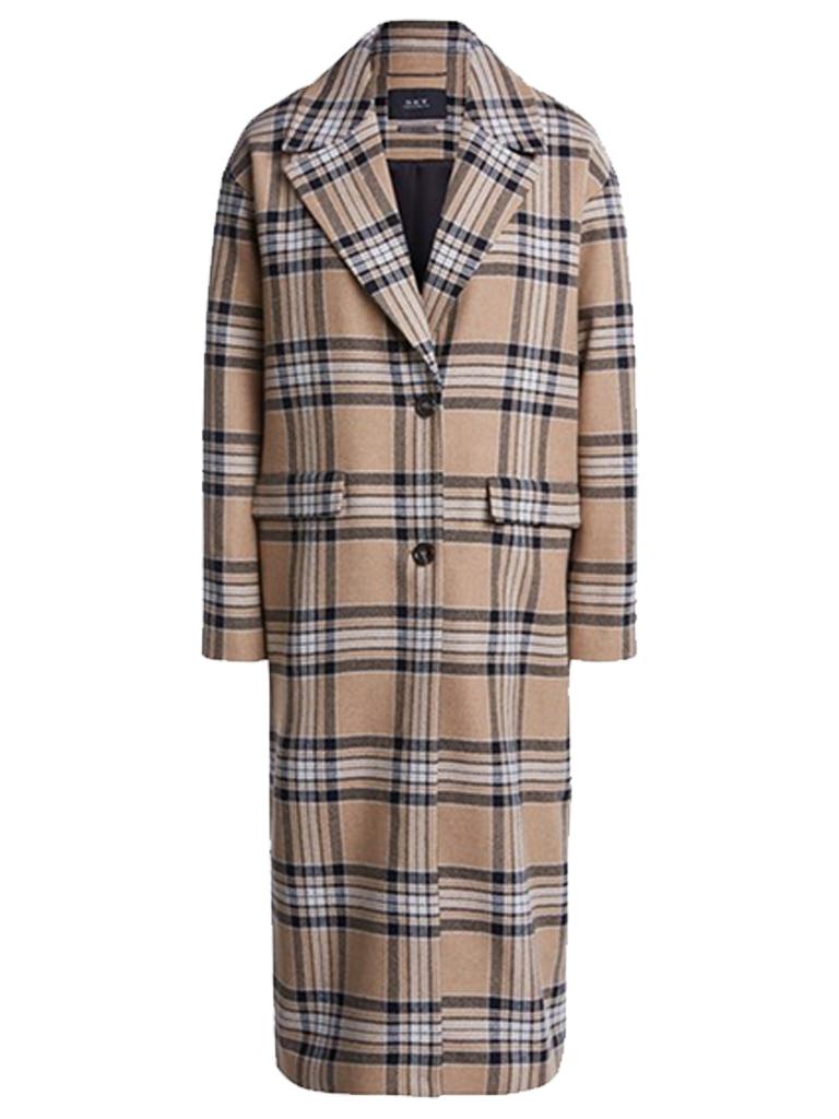 SET Fashion SET Fashion oversized checkered coat camel