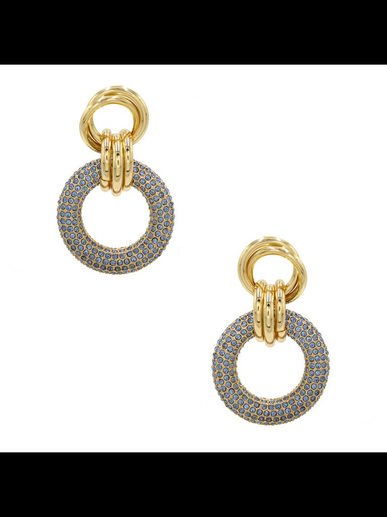 8 Other Reasons x Jill Jacobs triple hoops earrings blue gold