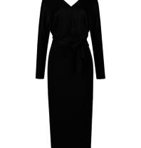 Acide Alexis midi jurk met ceintuur zwart