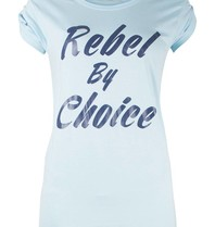 VLVT Rebel by choice t-shirt lichtblauw