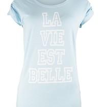 VLVT VLVT La vie est belle T-Shirt hellblau