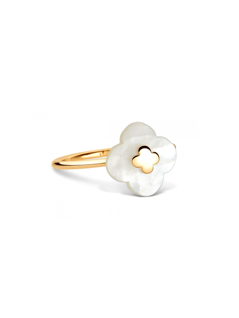 Morganne Bello Ring with mini mother-of-pearl stone yellow gold