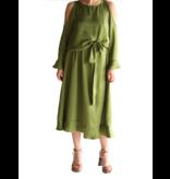 Acide Acide Alexa Midikleid mit kalter Schulter und Volants in Grün