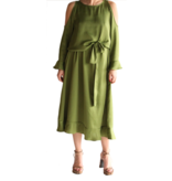 Acide Alexa midi dress with cold shoulder and flounces of green