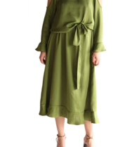 Acide Alexa midi jurk met cold-shoulder en volants groen