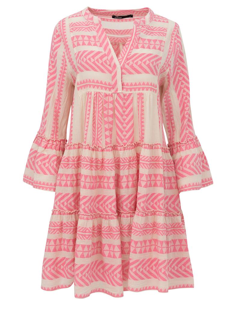 Devotion Devotion Zakar Kleid mit Print und Volant Pink White